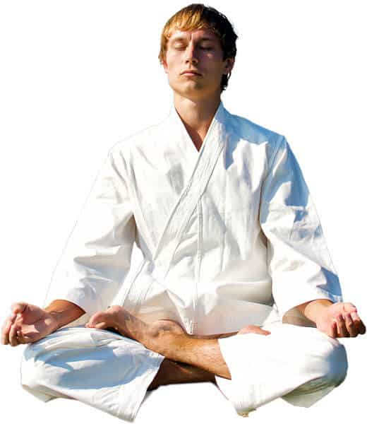 Martial Arts Lessons for Adults in Boscobel WI - Young Man Thinking and Meditating in White