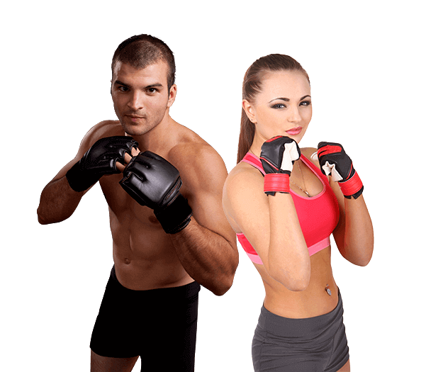 Mixed Martial Arts Lessons for Adults in Boscobel WI - Hands up Fitness MMA Man and Woman Footer Banner