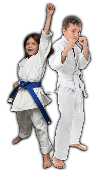 Martial Arts Lessons for Kids in Boscobel WI - Happy Blue Belt Girl and Focused Boy Banner